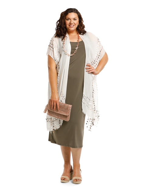 Lightweight Cover Up - Embroidery Trim White- 100% Cotton