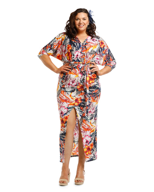 Summer Print Palm Dress - Size 12 -18
