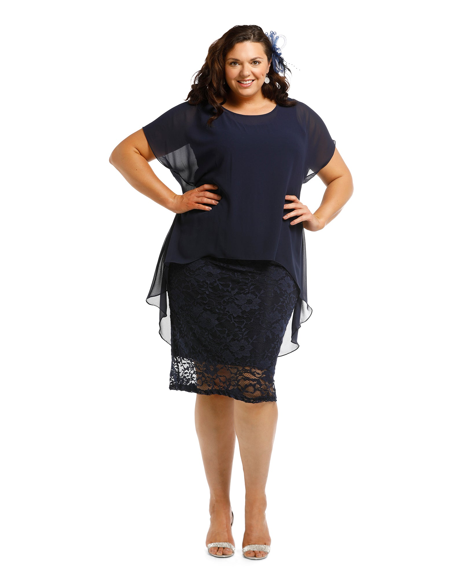 Avalon Stretch Lace Dress - Navy last size 12