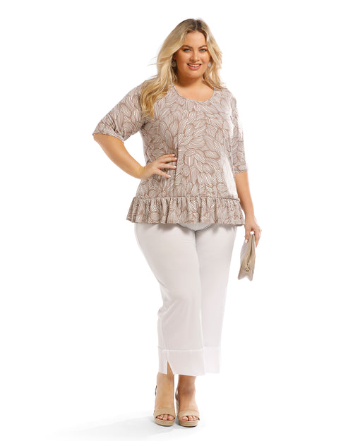 Carla Soft Knit Gathered Hem Taupe