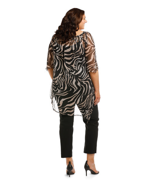 Animal Print Chiffon Top Size 20-26 Only