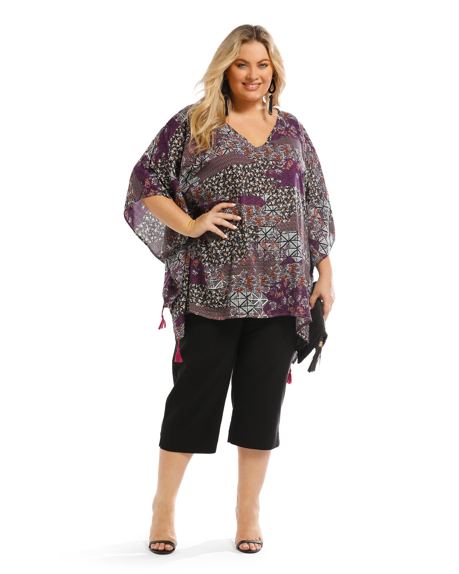 Purple Swirl Print V Neck Top - Purple