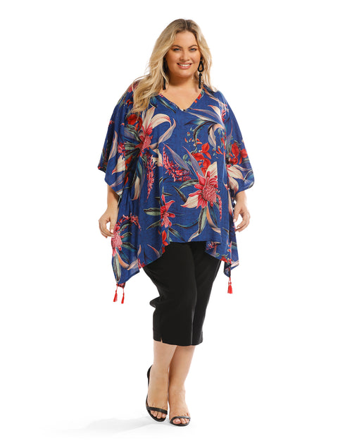 Waratah Floral V Neck Top - Blue