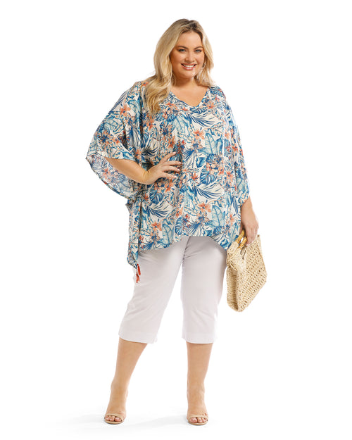 Denim and Peach Hibiscus Floral V Neck Top - Denim