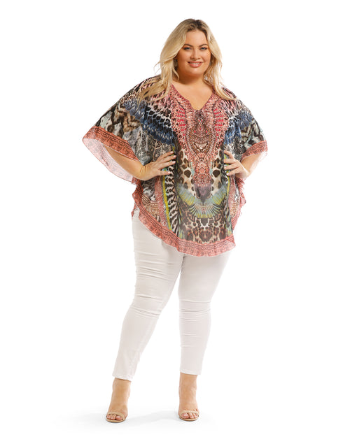Navy & Pink Kaftan Top