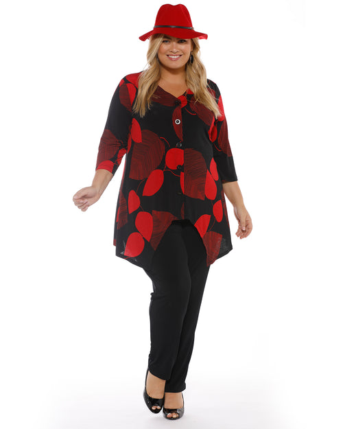 Red & Black Print Top LAST SIZES 14