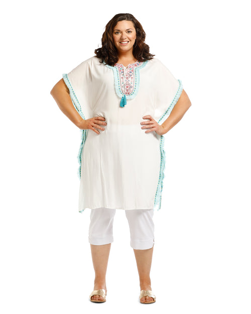 Mirror Tassle Kaftan - White Mint Trim -TAKE $10 OFF