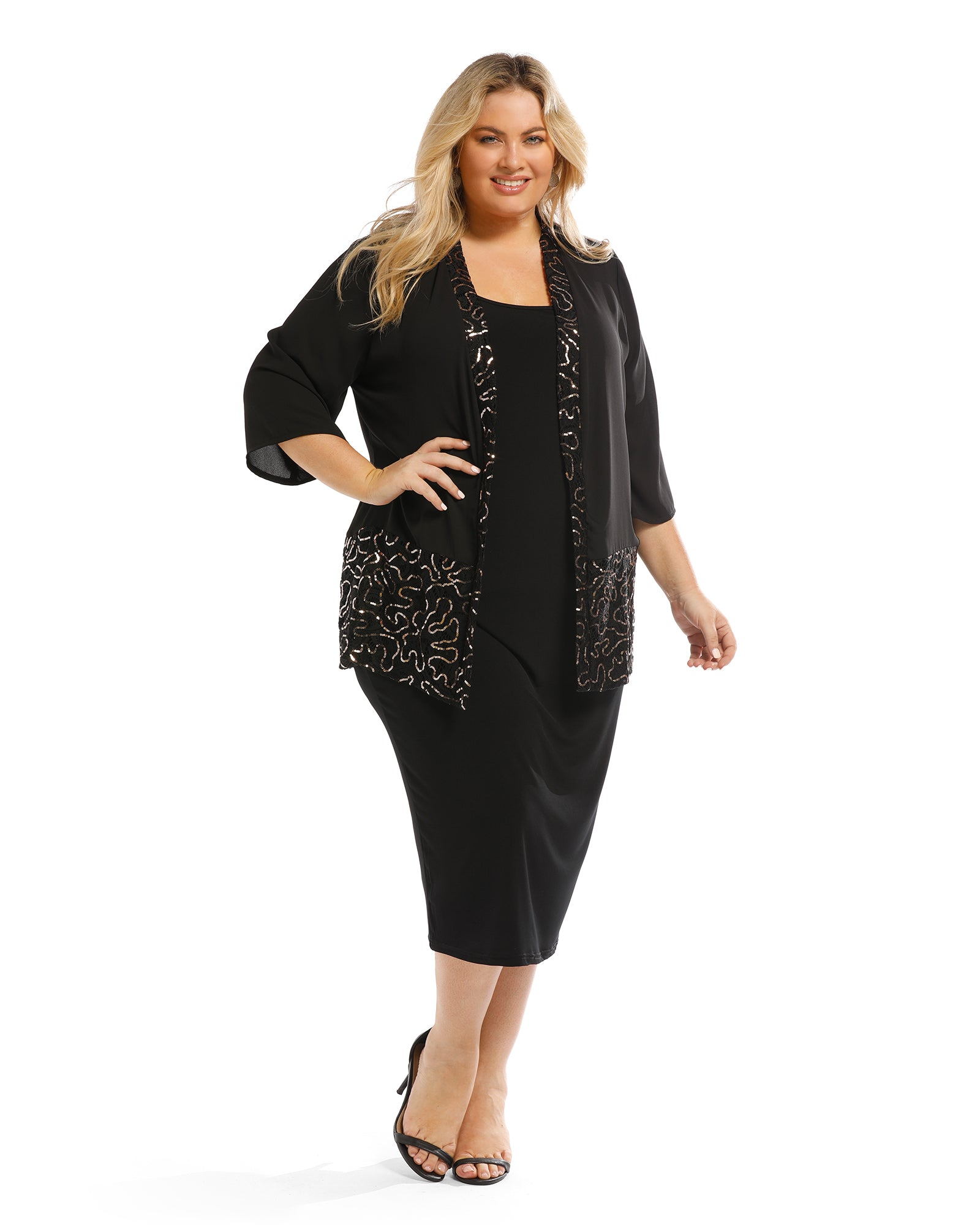 Gold Shimmer Trim Jacket - Black Size 12-26