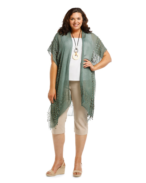 Lightweight Cover Up - Embroidery Trim Forest -100% Cotton
