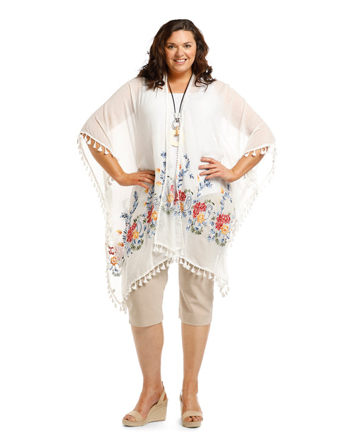 Cotton Embroided Cover Up - White