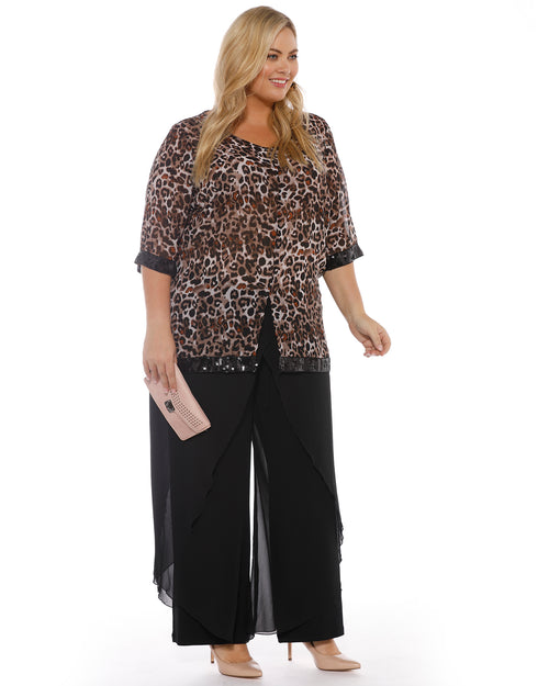 Amy Chiffon Overlay Pants - Black