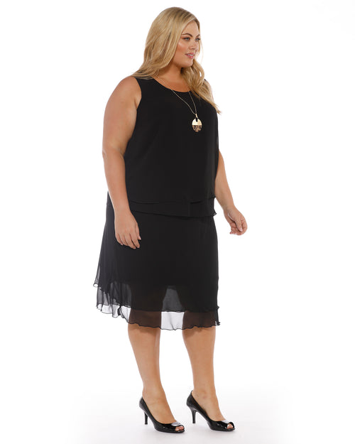 Double Layer Chiffon Singlet - Black