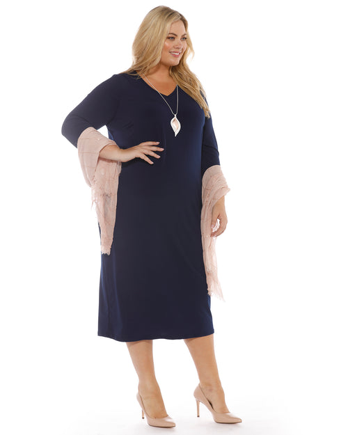 Dawn V-Neck 3/4 Sleeve Dress - Navy