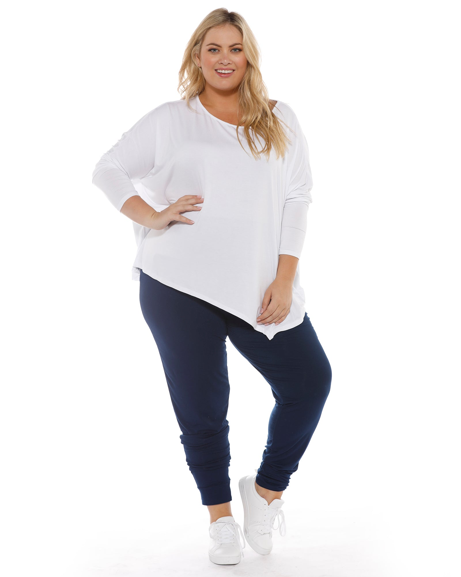 Relaxed Boat Neck Top - White- Size 8-14
