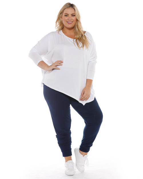Relaxed Boat Neck Top - White- Size 8-22