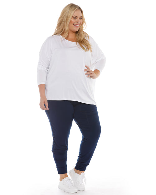 Relaxed Boat Neck Top - white