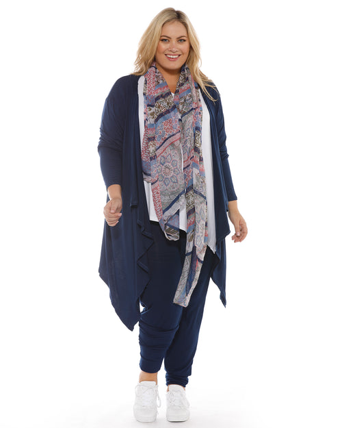 Waterfall Cardigan Navy -Size 8-24