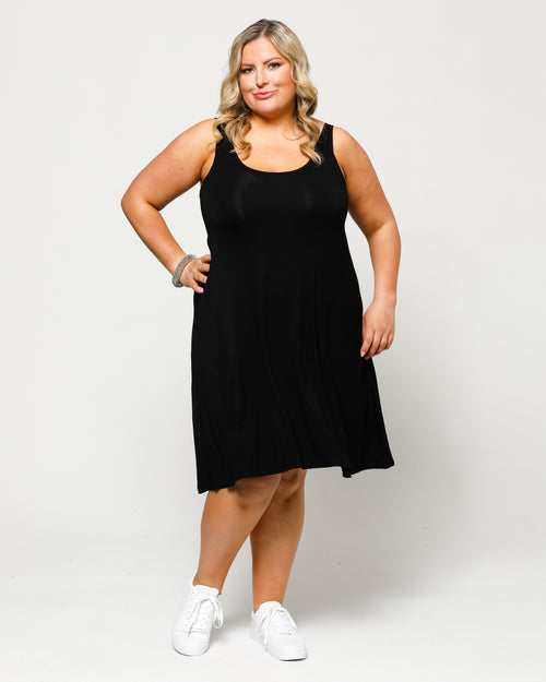 Bamboo Swing Dress - Black - Size 10-24