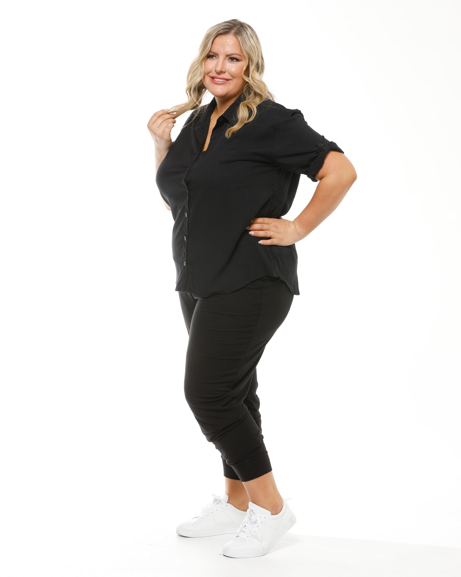 Bamboo Slouch Pant - black sizes 10-24