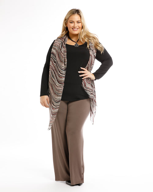 Jasmin Soft Knit Pants - Chocolate size 12 & 14