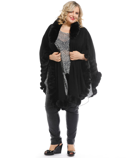 Luxurious super Soft Knit Cover Up with Long Fur Trim - Black