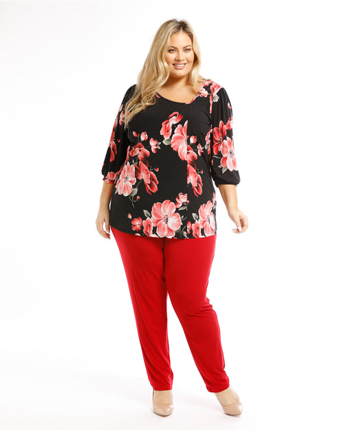 Straight Leg Pant - Red size 14 & 16 only