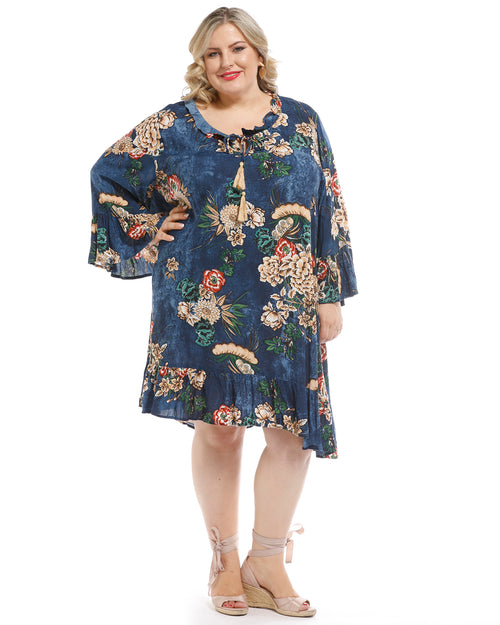 Hacienda Dress - Asbury Print -Navy - Last Size 18,20,22