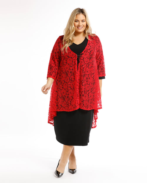 Ruth Lace Jacket -Red Last Size 14 & 20