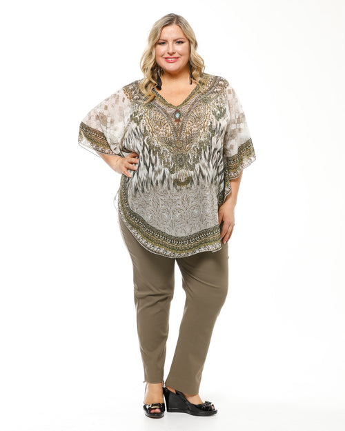 Khaki & White Swirl Beaded Top