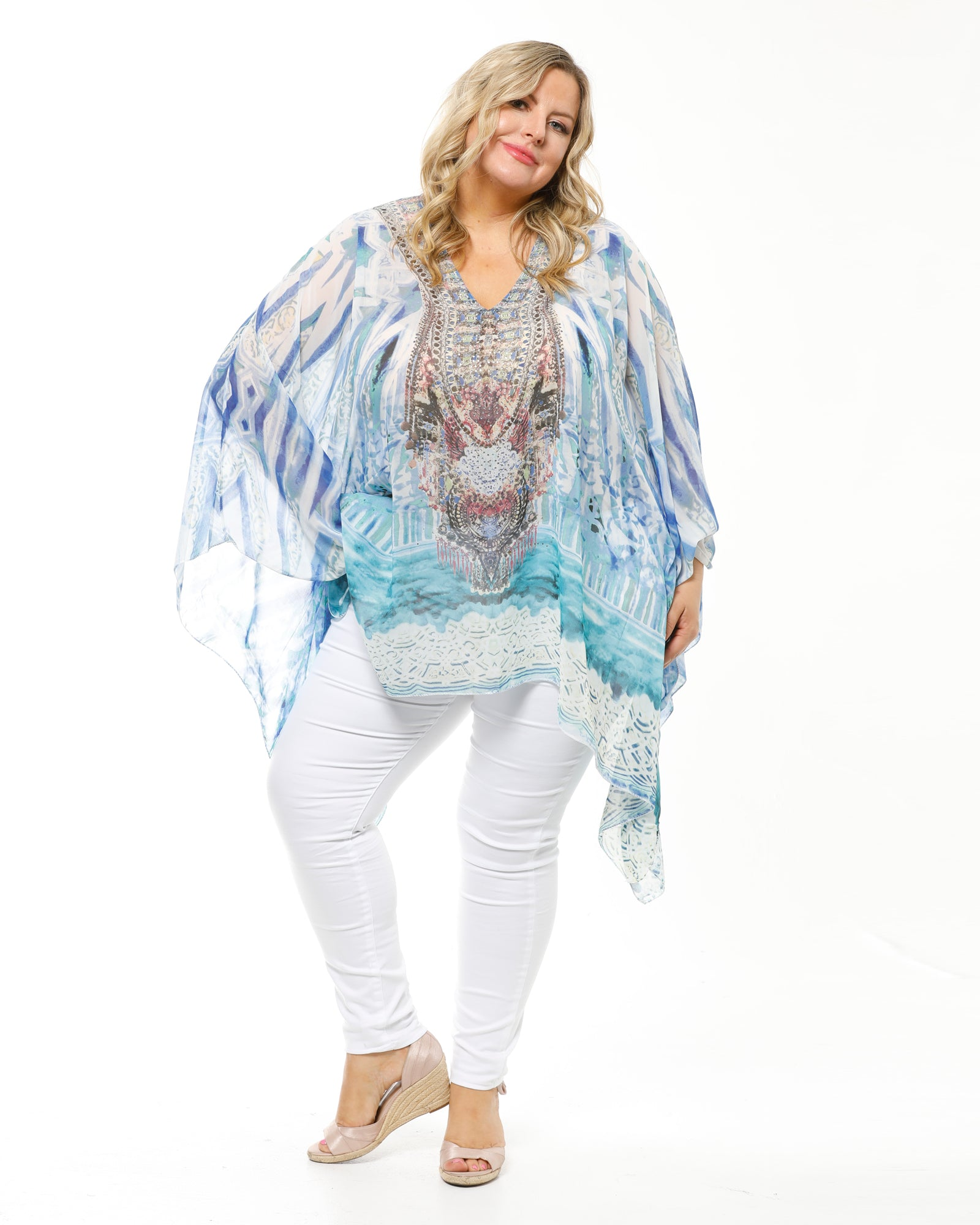 Blue Teal Beaded Top