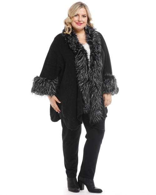 Super Soft Knit Cover Up with Fur Trim - Mono