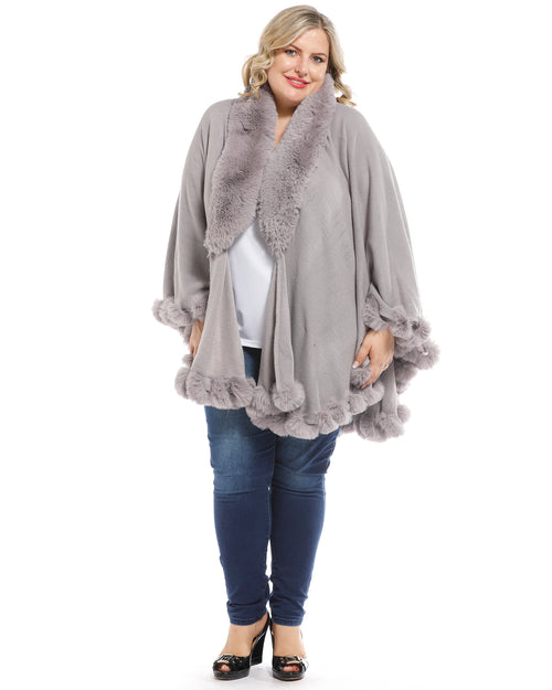 Luxurious Super Soft Knit Cover Up with Fur Trim - Grey