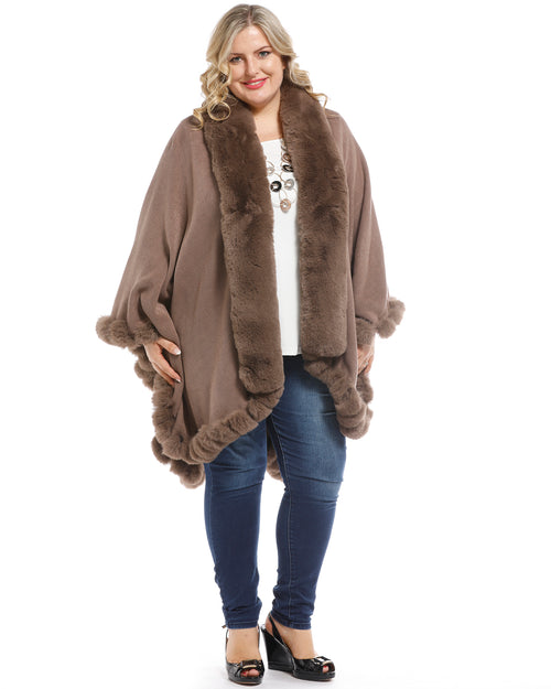 Luxurious Super Soft Knit Cover Up with Fur Trim - Sandy Brown