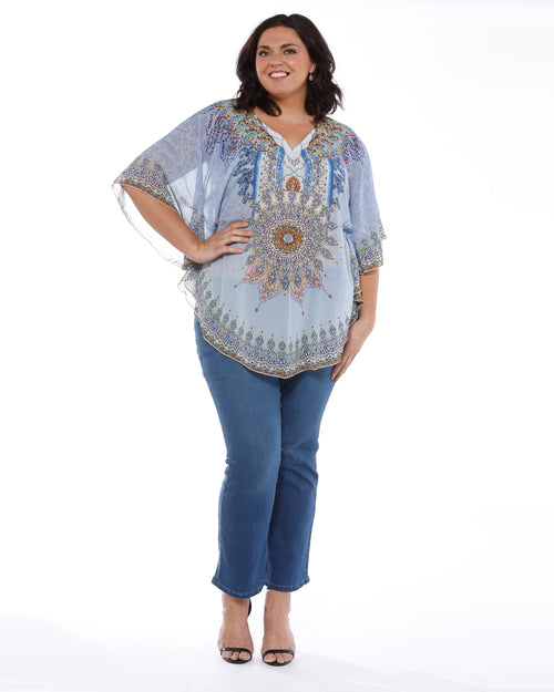 Blue Star Beaded Top