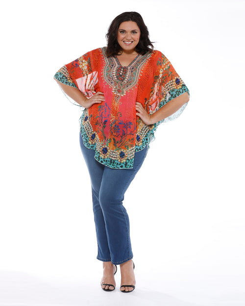 Burnt Orange Beaded Kaftan