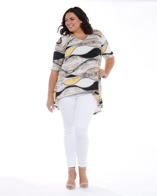 RTM Plus size Top, Cold Shoulder Top