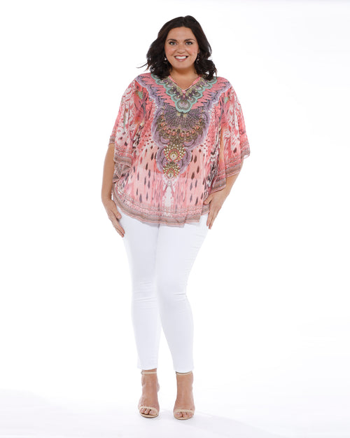 Pink Swirl Beaded Top