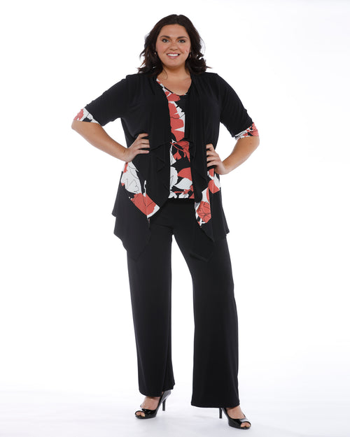 Wide Leg Knit Pants - Black - Up to Size 26
