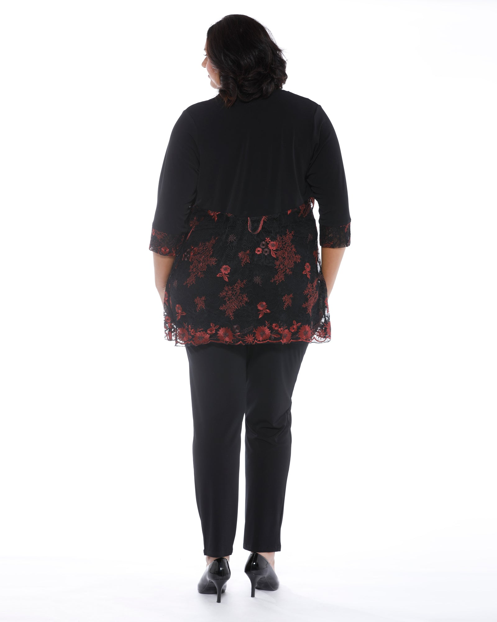 Natalie Embroidered Shrug- Red Last Size 16