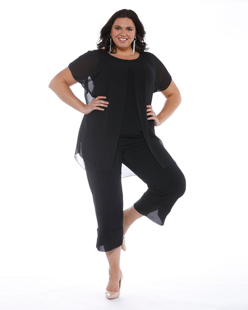 Rita Chiffon Overlay Top-Black- ONLY SIZE 24 LEFT