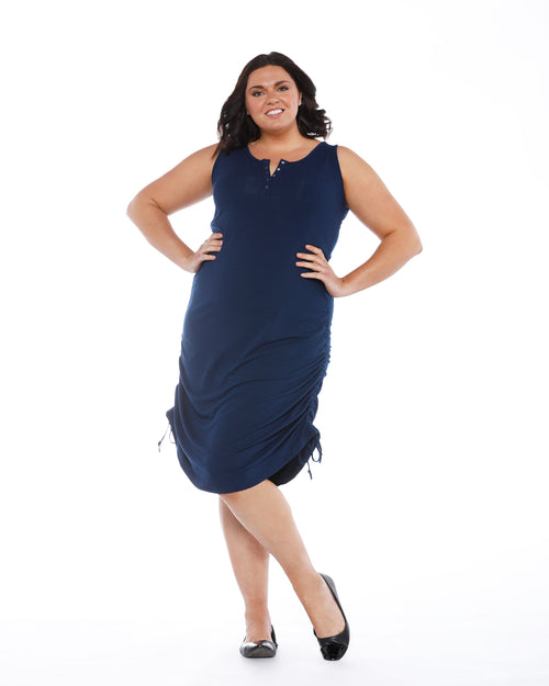 Bamboo Henley Tank Dress - Navy Size 10 -16