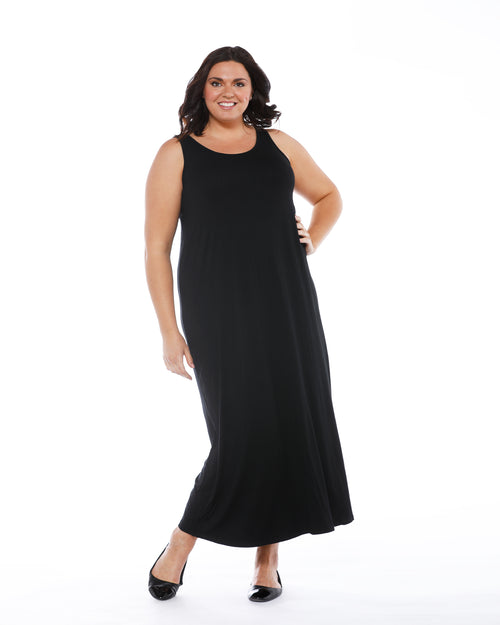Bamboo Maxi Dress - Black- Size 10 -22