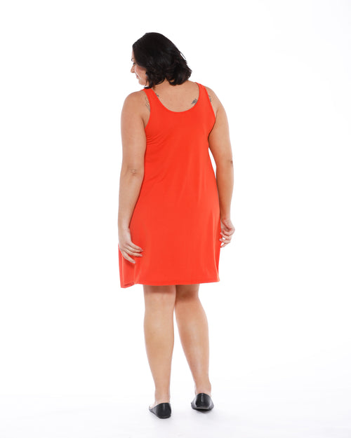 Bamboo Swing Dress - Tangerine
