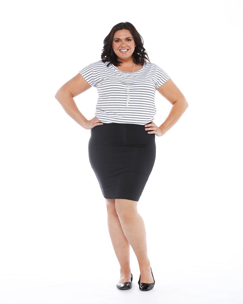 Double Layer Tube Skirt-Black Up to 4XL