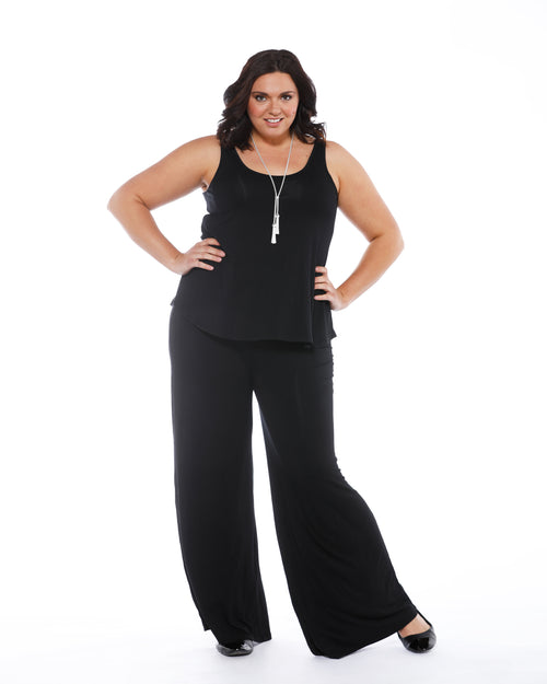 Luxe Wide Leg Pants - Black Size 10-22