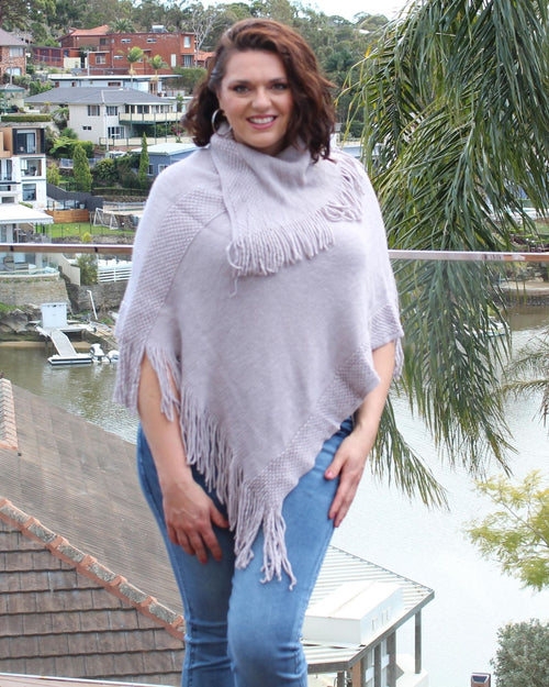 Knit Poncho-Grey