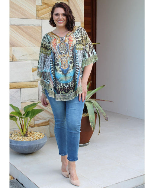 Tribal Animal Kaftan Top