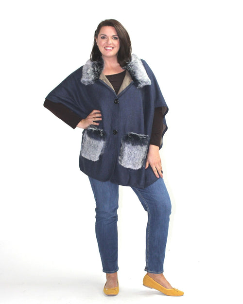 Poncho Coat With Pockets -Navy
