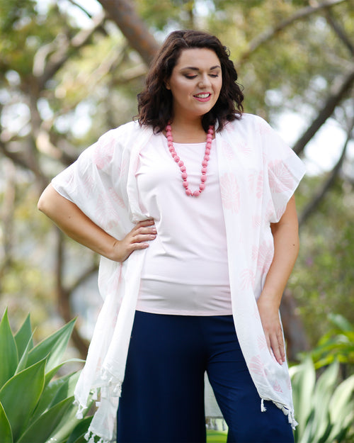 White with Pink Palm Cotton Beach Cover Up