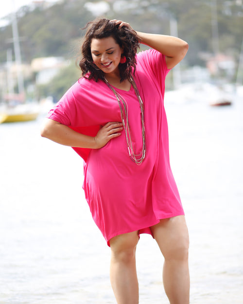 Bamboo Sybil Dress - Pink-Size 10-22